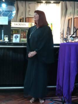 Skoobs launch, Steph in black robe at Skoobs launch
